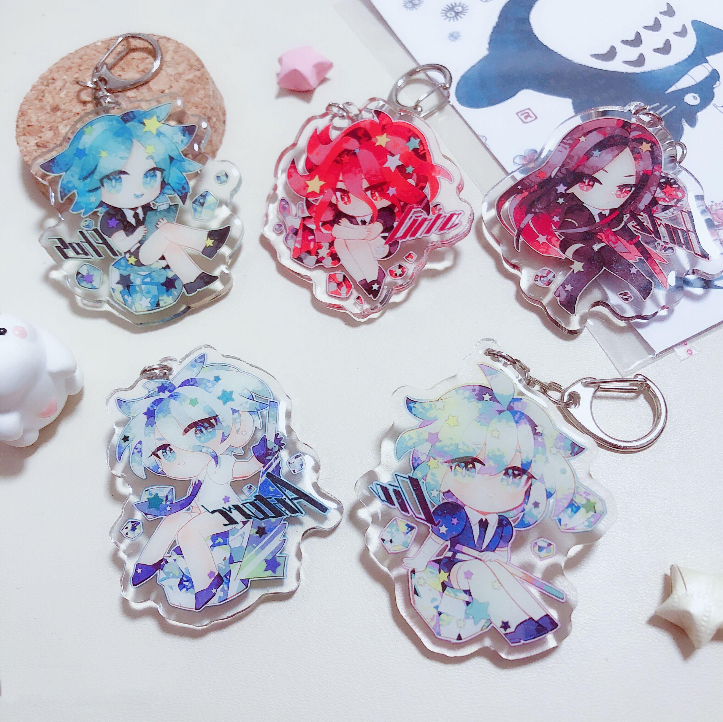 Anime Land Of The Lustrous Keychain Phosphophyllite Cinnabar Diamond Bort Cosplay Acrylic Figure Keyring Pendant