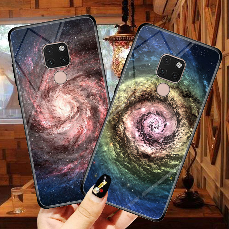 Starry sky Phone Case Coque for Huawei Mate 20 Pro amigo 20 X P Smart Plus 2019 Tempered Glass Cover para for Huawei nova 3i 3 in Phone Bumpers from Cellphones Telecommunications