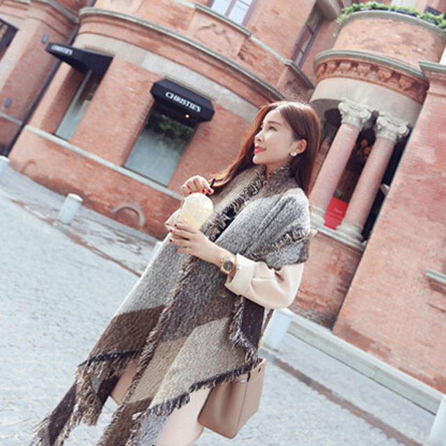 New Winter Women's Thick Warm Wool Scarf Pashmina Cashmere Stole Scarves Scarf Shawl Wraps