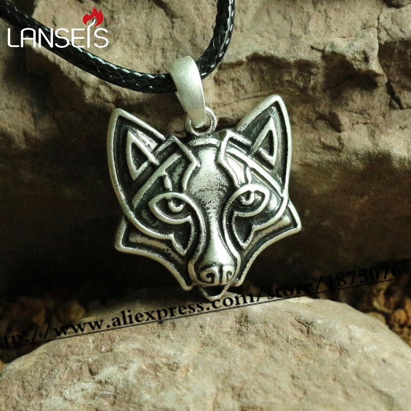 lanseis 15pc gothic punk pesonality viking fox hea d pendant men Necklace Animal talisman retro celt
