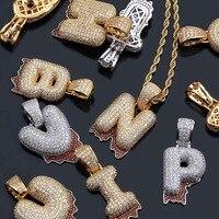 MISSFOX Hip Hop A Z Magma Falling Big Letters Gold Silver Long Necklace AAA Cubic Zirconia Cyberpunk Men's Letter Necklace