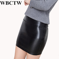 Sexy Mini Skirts Solid XXS 7XL Plus Size Casual PU Faux Leather Pencil Skirt High Waist