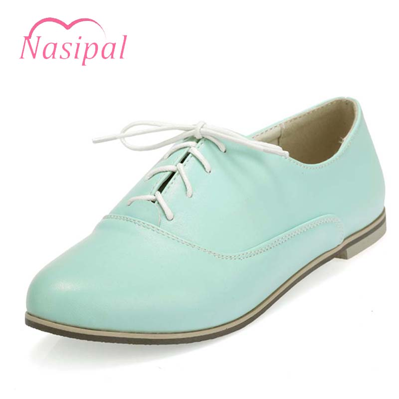 Nasipal Women Oxford Shoes Flats Casual Shoes Pu Leather Lace Up Round Toe Flat Heel Black White Shoes Comfortable Drive Shoes smile circle 2018 spring patent leather oxford shoes women round toe lace up flats shoes white black yellow casual shoes