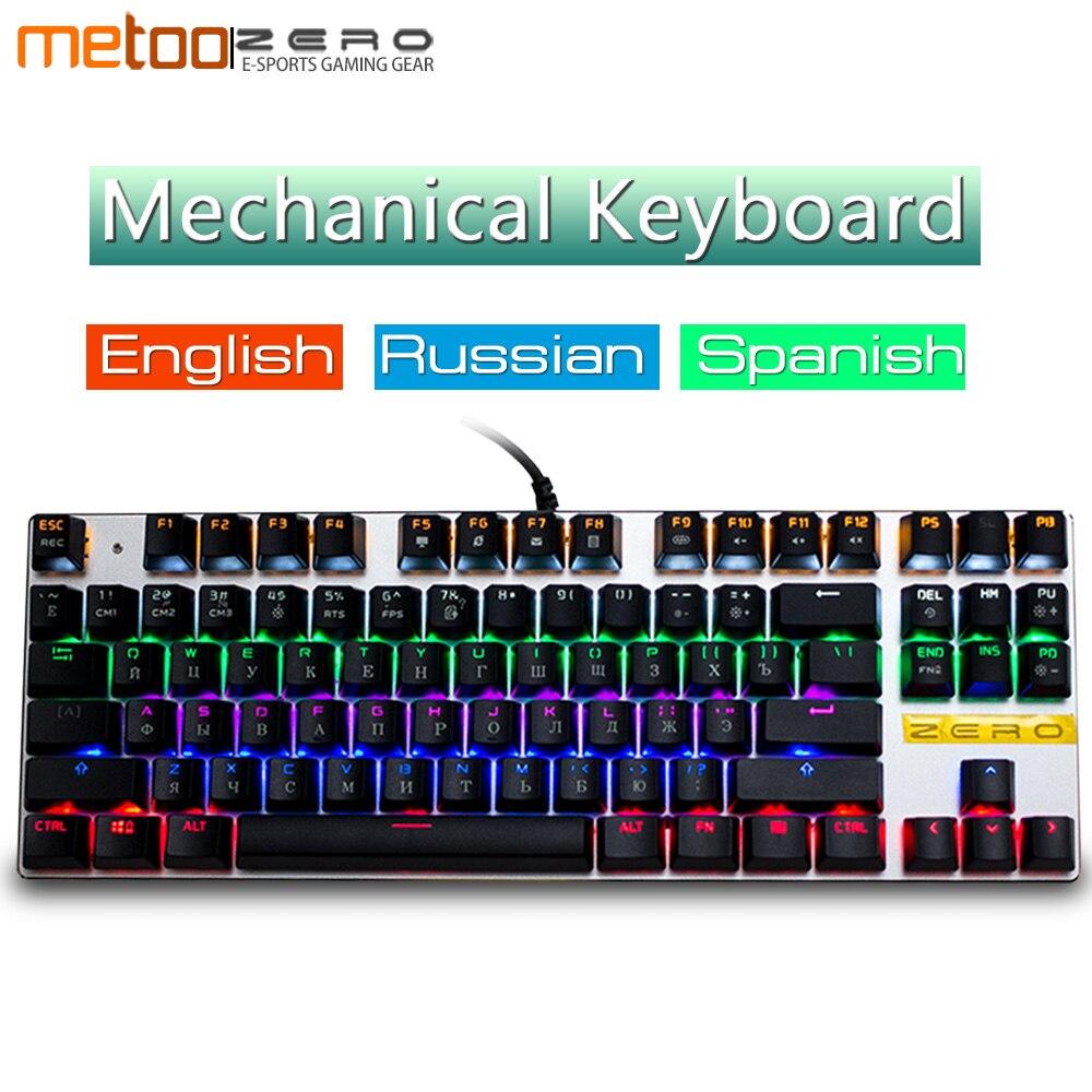 Metoo E-Sport de jeu mécanique clavier LED Rétro-Éclairé Ergonomique Conception Pro Gamer Clavier Anglais Russe Espagnol Mise En Page