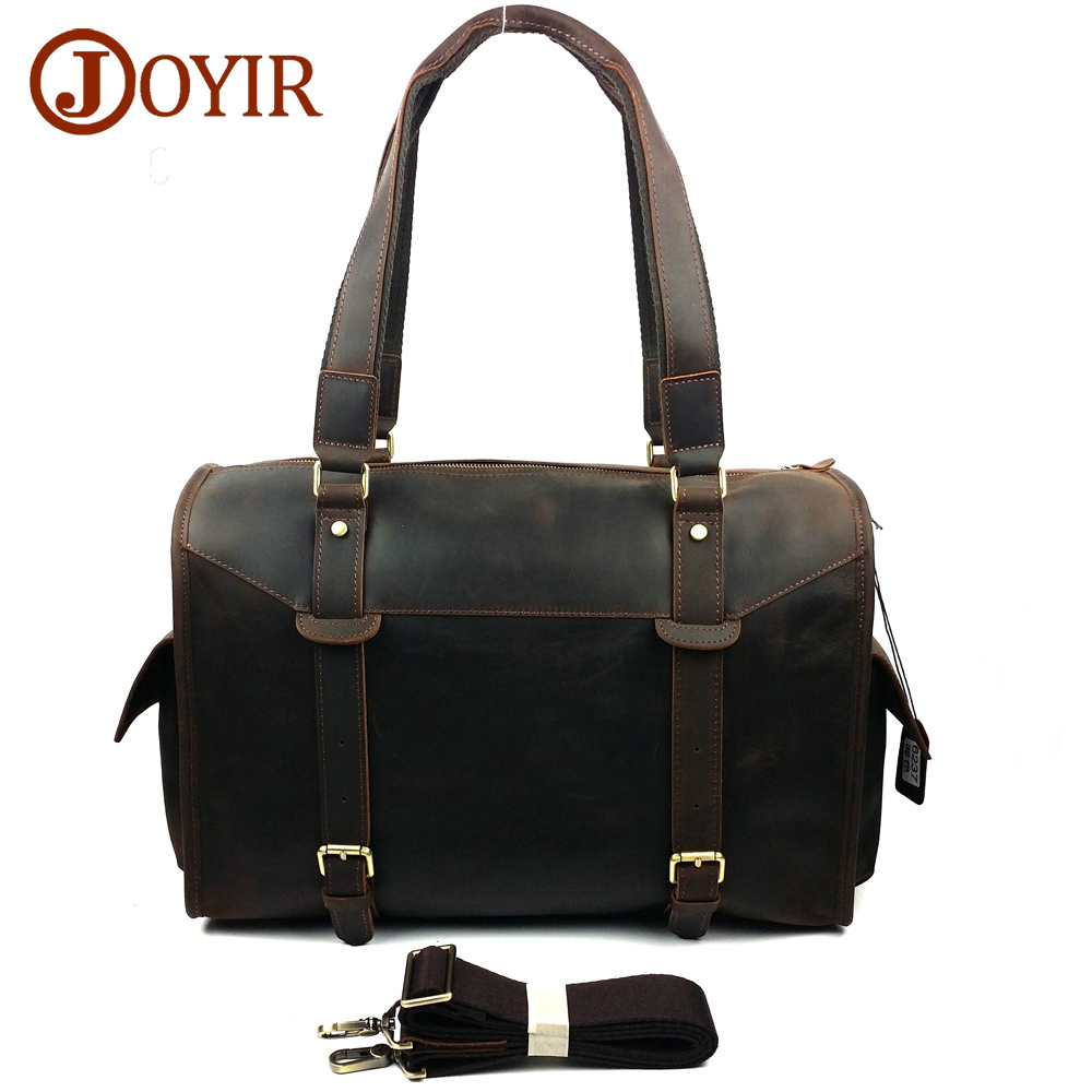 JOYIR Designer Handbags High Quality Genuine Leather Travel Bag Men Travel Bags Vintage Luggage Large Duffle Bag Weekend Bag6237
