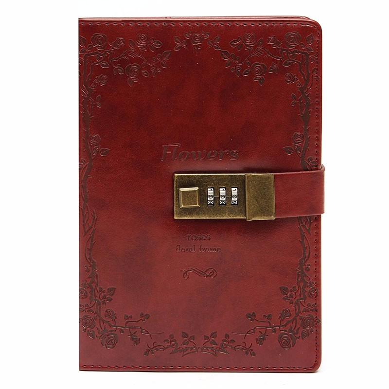Kicute B6 Red Rose Leather Wired Journal Diary Blank Paper Notebook With Lock Sketchbook Notepad Gift Office School Supplies ootdty vintage classic journal notebook diary sketchbook thick blank page leather cover 1 pcs