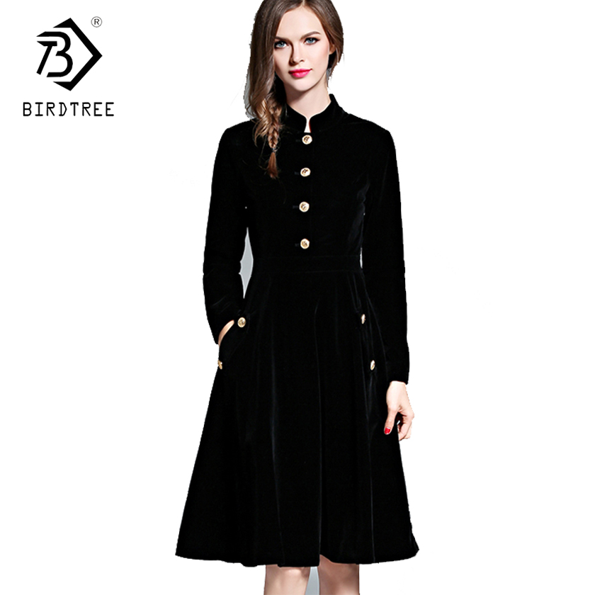 Elegant Black Velvet Dress Winter Dresses Retro Women 2018 Audrey Hepburn Long Sleeve Ladies Office Dress Vestidos Robe D7D221C gown