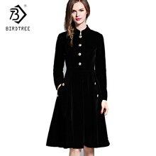 Preto elegante Vestido De Veludo Vestidos de Inverno Mulheres Retro 2018 Audrey Hepburn Manga Comprida Ladies Escritório Vestido Vestidos Robe D7D221C