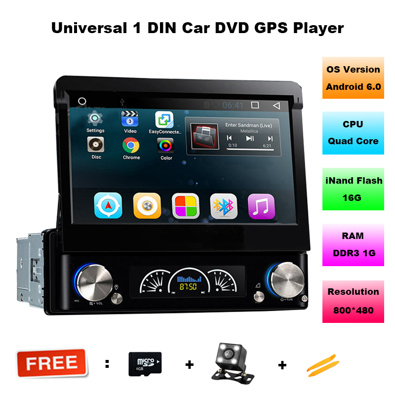 1 Din Android 6.01 Car Multimedia Auto Radio DVD Player GPS With 7 Inch Touch Screen Detachable Panel Support FM AM Video USB SD