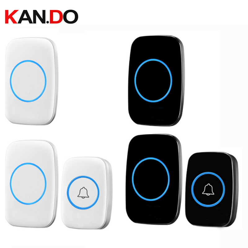 With 2 Receivers Bell Sets Wireless Door Bell Set By 110-220V Wireless Doorbell Ip44  300M Door Chime Door Ring For Villa