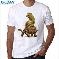 GILDAN mens t shirts fashion Tortoise design t-shirt Sloth Riding Turtle Harajuku funny tee shirts Hipster O-neck cool tops