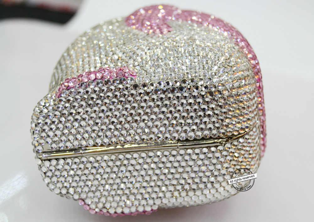 ファッションピンククラッチバッグ送料無料新しい動物形状かわいいペンギンピンククリスタルチェーン小さなバッグ女性のイブニングバッグSC170