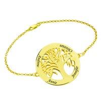 Wholesale Family Tree Bracelet Gold Color Engraved Tree of Life Bracelet Women Jewelry