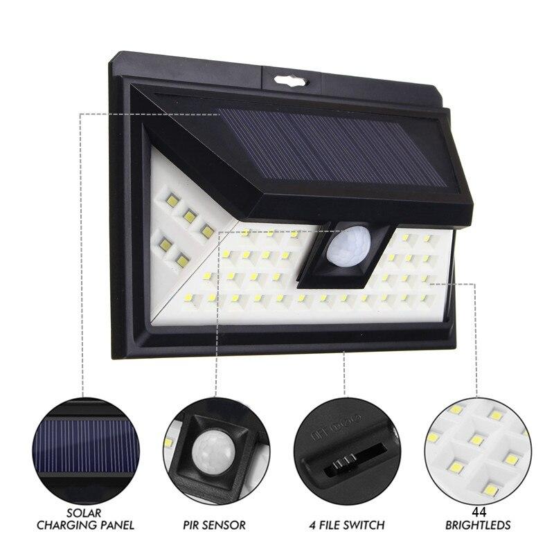 44 <font><b>LED</b></font> Solar <font><b>Light</b></font> <font><b>Outdoor</b></font> <font><b>LED</b></font> Garden <font><b>Light</b></font> White <font><b>Light</b></font> PIR Motion Sensor Solar Powered Security Night Pathway Wall Lamp