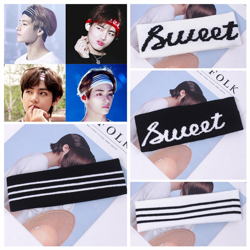 Korea Kpop BTS Fans Wide Headband Stripe Letters Large Elastic Sports Yoga Hair Band For Women   Headwear