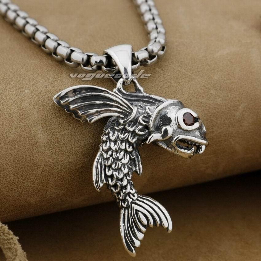 LINSION 925 argent Sterling poisson volant rouge CZ yeux hommes Biker Rocker pendentif 9E017 acier inoxydable collier 24 pouces