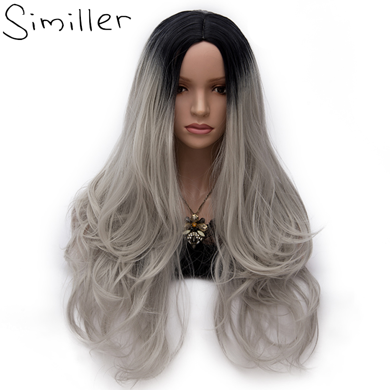 Similler 23 Colors Womens Synthetic Wigs Long Wavy Ombre Black Grey Cosplay Wig High Tem ...