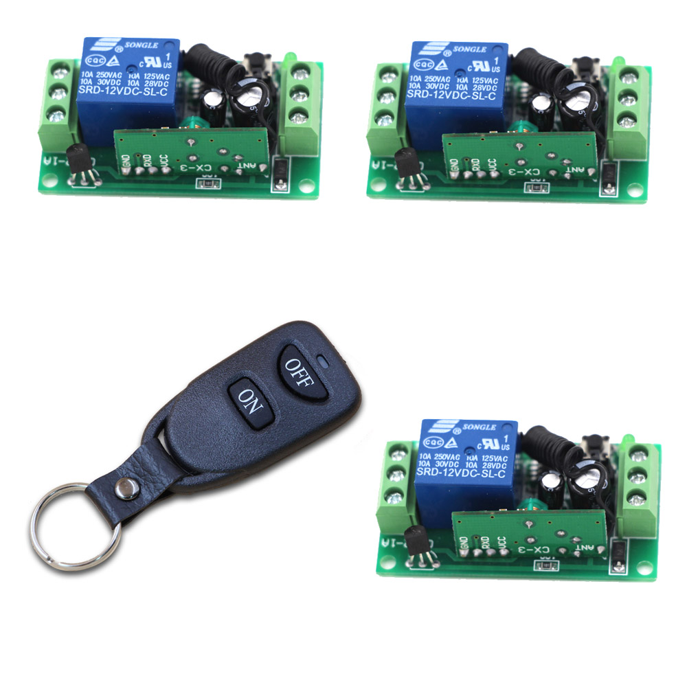 ON/OFF Key 9V 12V 24V Relay 1CH Remote Wireless RF Control Switch Transmitter with 2 Buttons + 3 Receiver 315/433MHZ 315 433mhz 12v 2ch remote control light on off switch 3transmitter 1receiver momentary toggle latched with relay indicator