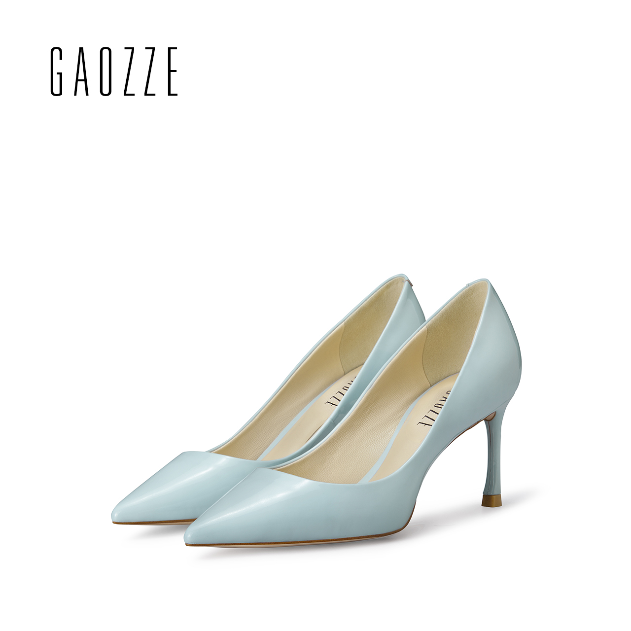 GAOZZE 2017 spring summer pointed toe single shoes female high heels pumps shallow mouth women's cow patent leather office shoes