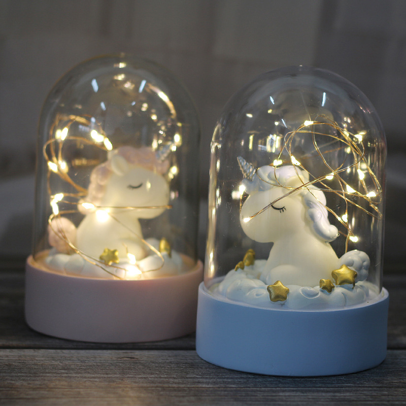 Cartoon LED Night Light Luminaria Garland Fairy String Lights Novelty Unicorn Night Lamp Bedside Lamp For Kids Christmas New Year Gift (10)