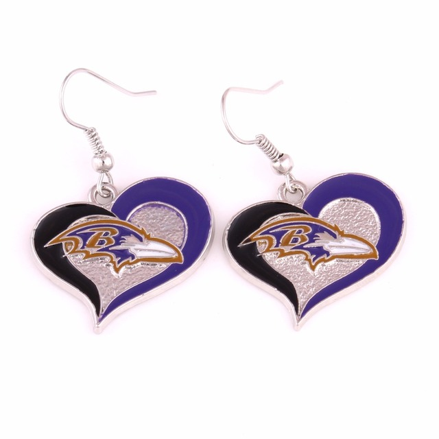 Single Sided Baltimore Ravens Women S Football Team Logo 26cm Swirl Heart Charm Sport Dangle Earring