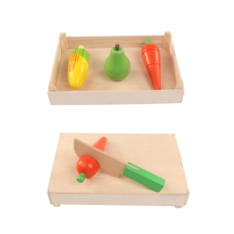 Wooden classic game simulation kitchen series toys Cutting Fruit and Vegetable Toys Early education gifts XWJ383-