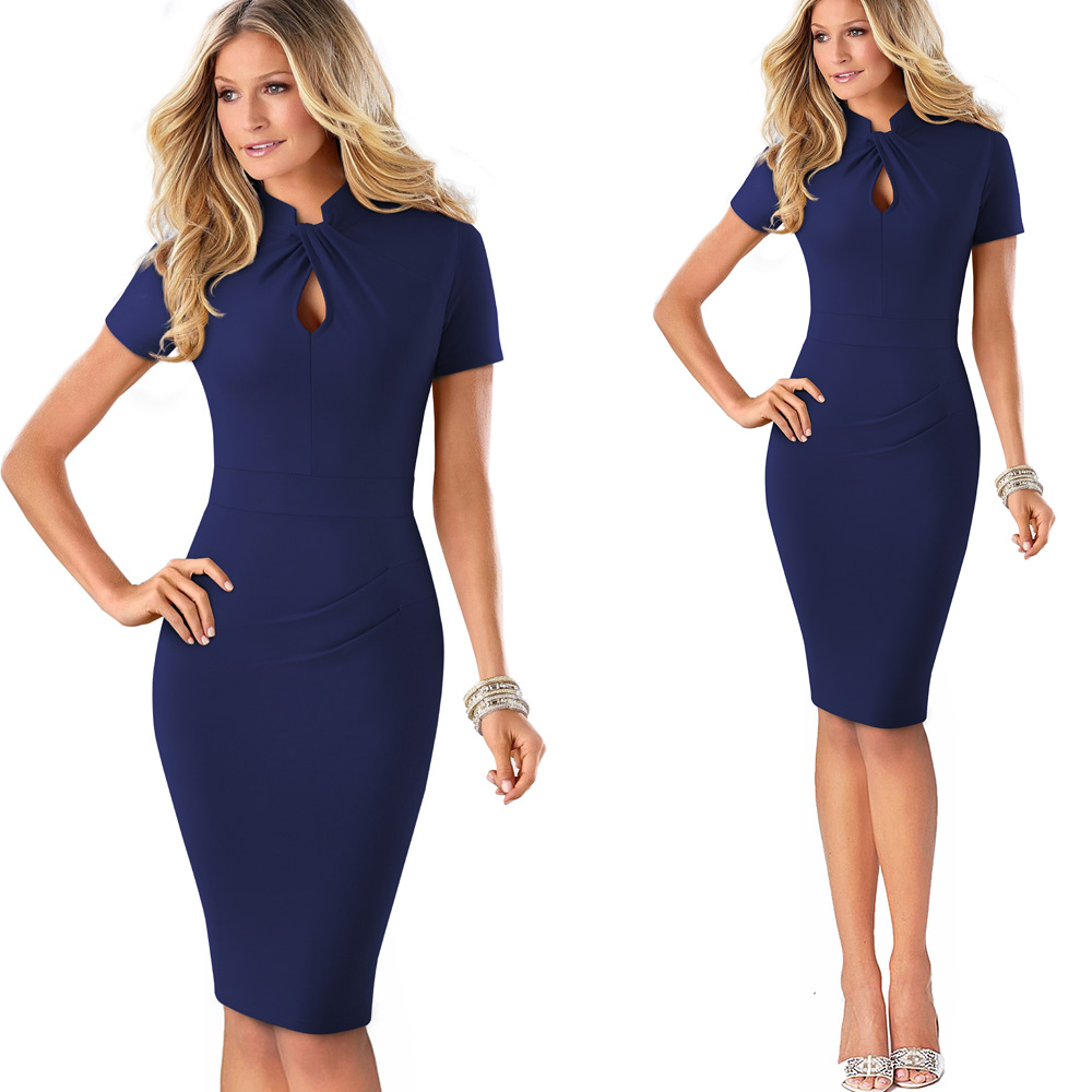 Nice-forever Vintage Contrast Color Patchwork Wear to Work Knot vestidos Bodycon Office Business Sheath Women Dress B430 8
