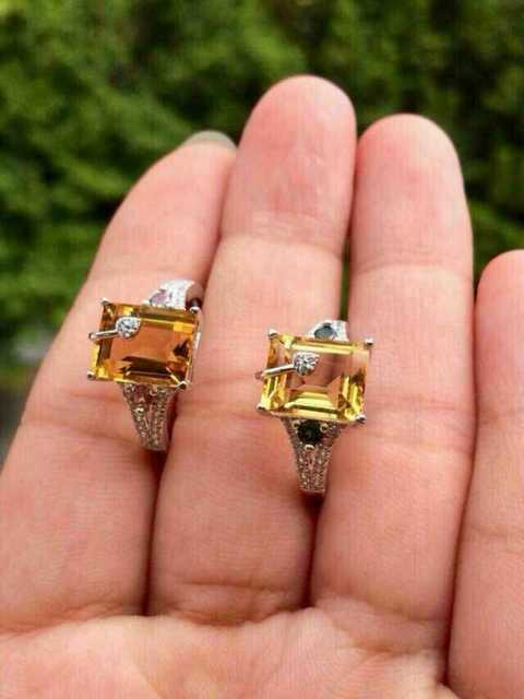 Natural citrine tourmaline Ring Natural yellow  crystal ring 925 sterling silver trendy Square women's girl gift fineJewelry