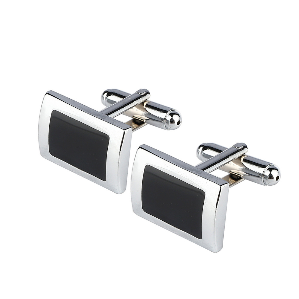 Cufflinks Button Christmas-Gifts Rectangle Black Simple-Style Mens Silver-Plated New