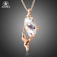 AZORA Brand Rose Gold Color Pendant Necklace Clear Austrian Crystal for Women Fish Shape Jewelry Luxury Chain Necklace TN0213(China)
