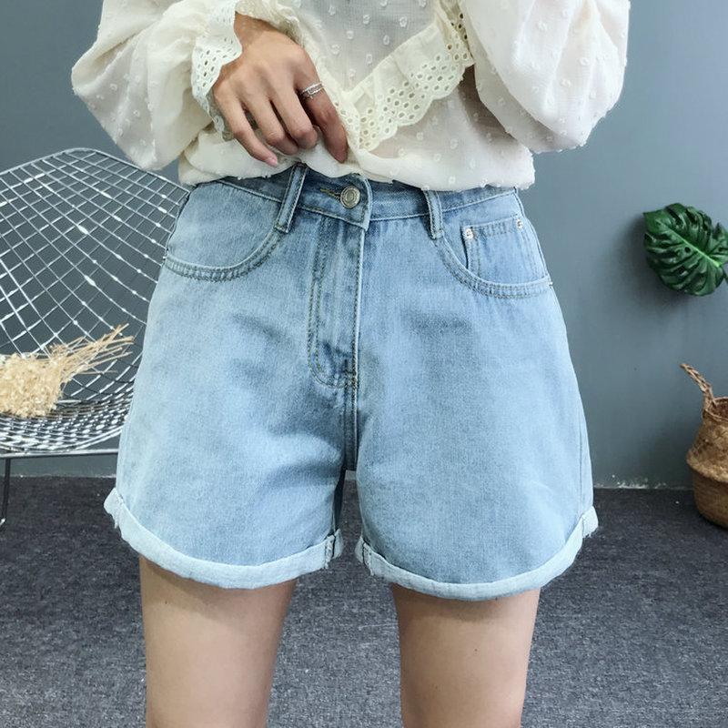 New 2018 Denim   Shorts   for Women Jean Femme   Shorts   Feminino Jeans Cintura Alta Street Fashion   Shorts   Wide Leg Denim plus size