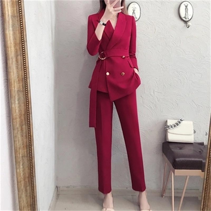 Nouveau Robe Femelle De Dames Pantalon Mode Gamme 1 Automne piece Style Tempérament Deux Haut Costume Printemps Suit Femmes Britannique 4AR5jL