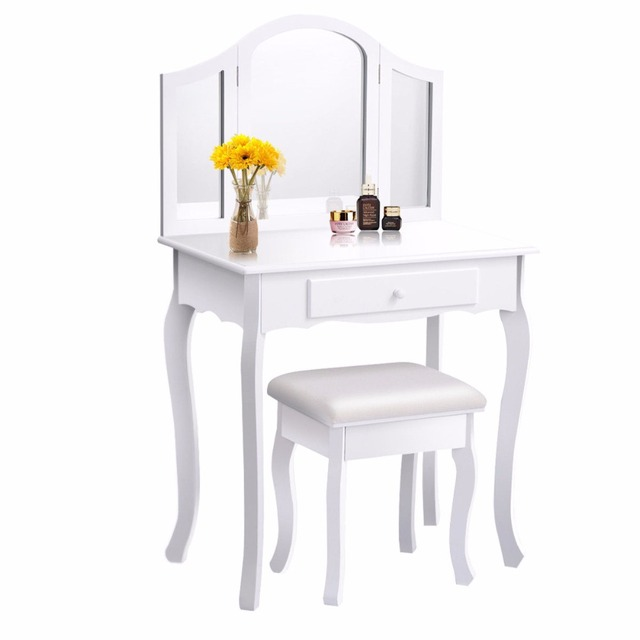 Goplus White Makeup Vanity Table And Stool Set Modern Tri Folding Mirror Bedroom Dressing