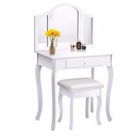 Goplus White Makeup Vanity Table and Stool Set Modern Tri Folding Mirror Bedroom Vanity Dressing Table Set Dressers HB84525