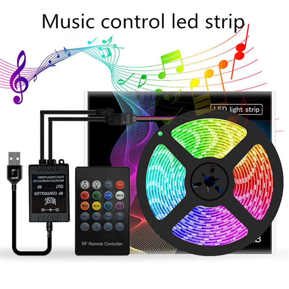 Music LED Strip RGB Tape Light USB 5V TV Backlight For Party Background Lighting Waterproof Flexible Neon Smd 5050 Strips Fita