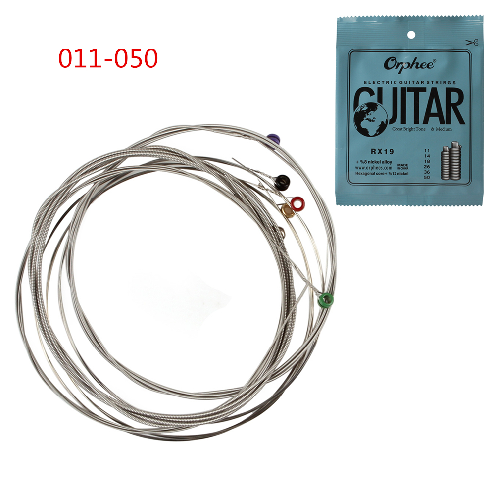 Orphee RX19 6pcs/set Electric Guitar String Set (011-050) Nickel Alloy Strings Great Bright Tone&Medium gibson seg 700ml brite wires nps wound 011 050