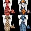 Corbata Y Pañuelo Conjunto RBOCOTT Mens Paisley Corbata Roja corbata de Seda Tejido Jacquard Hombres Clásicos Corbata De Boda de Negocios partido