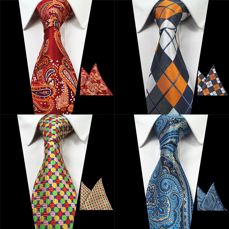 RBOCOTT 2PCS Neck Ties And Hanky Set Mens Red Tie Paisley Tie Silk Jacquard Woven Men Classic Necktie For Wedding Business Party