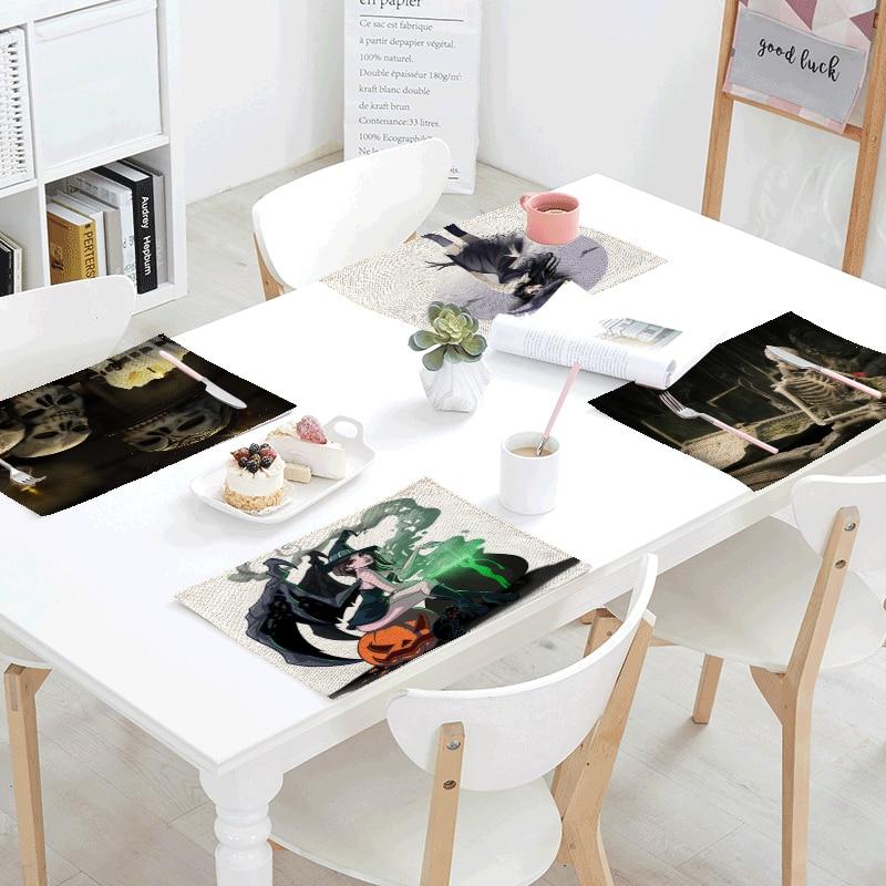1Pcs 42*32cm Happy Halloween Table Napkins Placemats Decor Wedding Party Bats Pumpkin Linen Black Cats Table Table Skirt Coaster
