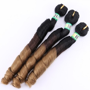 Image 2 - T1B/4/27 3 トーンオンブル春毛束 210 グラム 1 セットブラウンゴールデン毛延長合成毛織り