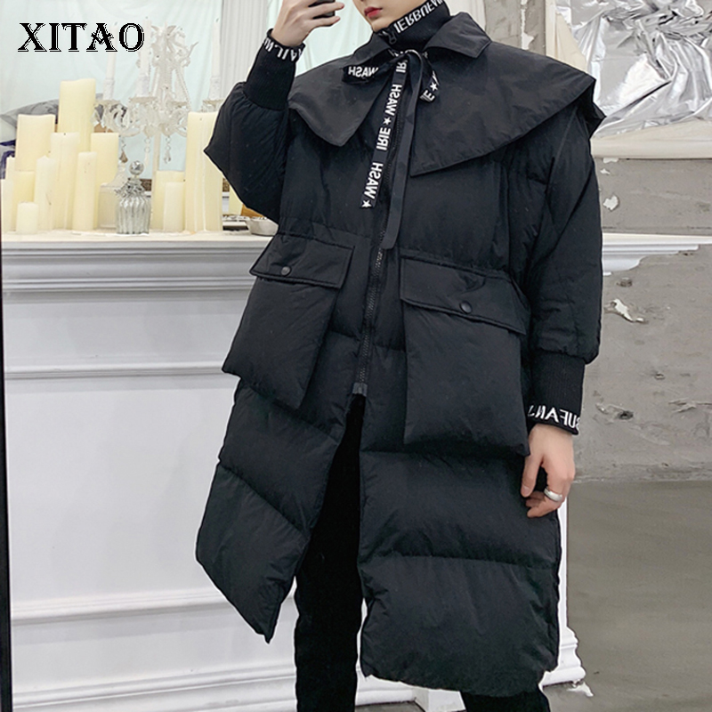 [XITAO] Women 2018 Winter Korea Fashion New Full Sleeve Long Coat Female Solid Color Stand Collar Pocket Letter   Parka   ZLL2499
