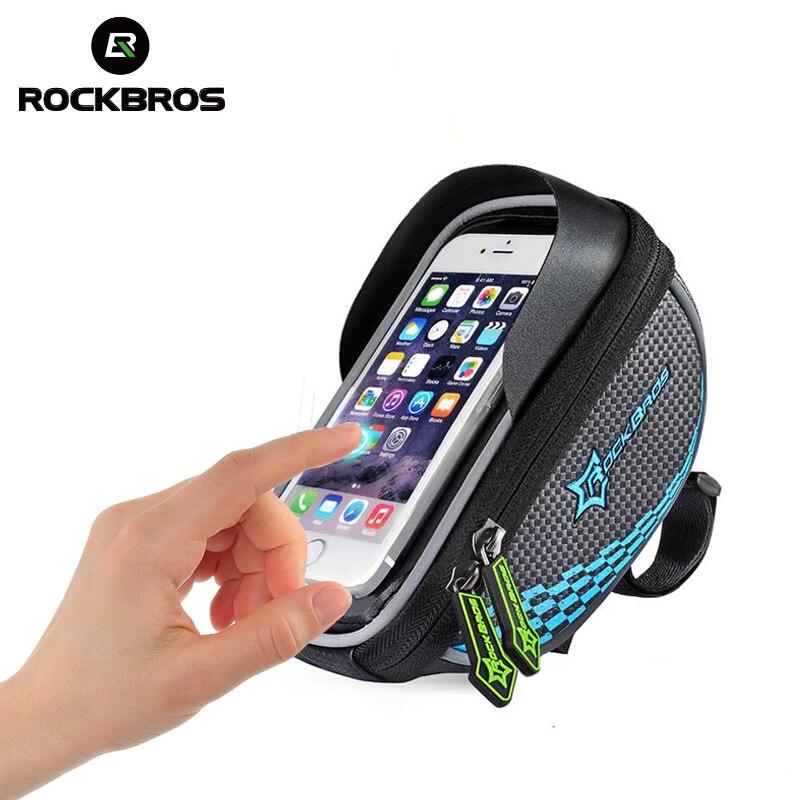 ROCKBROS Cycling Bicycle Bags Waterproof Touch screen 5.5 Handlebar Bike Phone Bag With Shade Baffle Bike Frame Tube Panniers