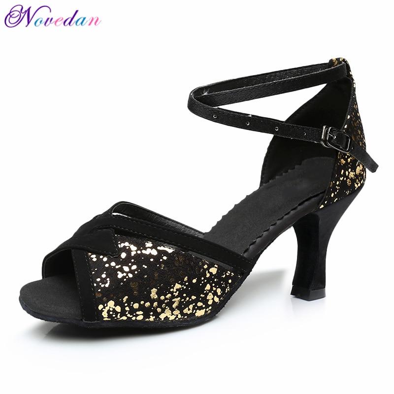 Glitter Salsa Dance Shoes Latin Woman Tango Shoes Female Ladies Latin Ballroom Dancing Shoes Black 5cm/7cm