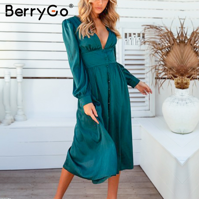 BerryGo Vintage Deep V Neck Satin Dress Women Long Sleeve Button High Waist Female Midi Dress Elegant Silk Ladies Party Vestidos