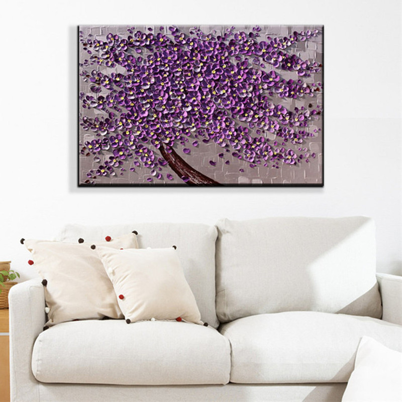 Purple Flower Oil Painting Abstract Wall Art Picture: Aliexpress.com : Buy Knife Acrylic Floral Paintings Modern