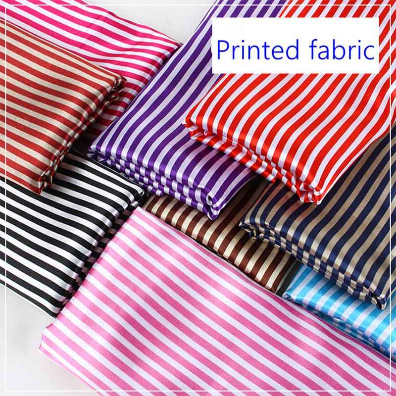 Cheap striped printed polyester satin fabric for lining  home textile T114