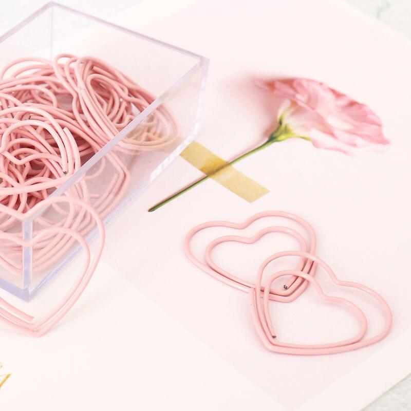 25 pièces mignon rose amour coeur conception bureau école trombones papeterie, bonbons étudiant signet