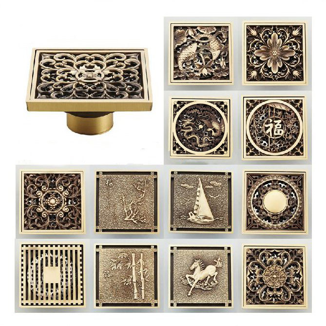 Fashion Hot 10*10cm Vintage Artistic Brass Bathroom Wetroom Square Shower  Floor Drain Trap Waste Grate With Hair Strainer In Drains From Home  Improvement On ...