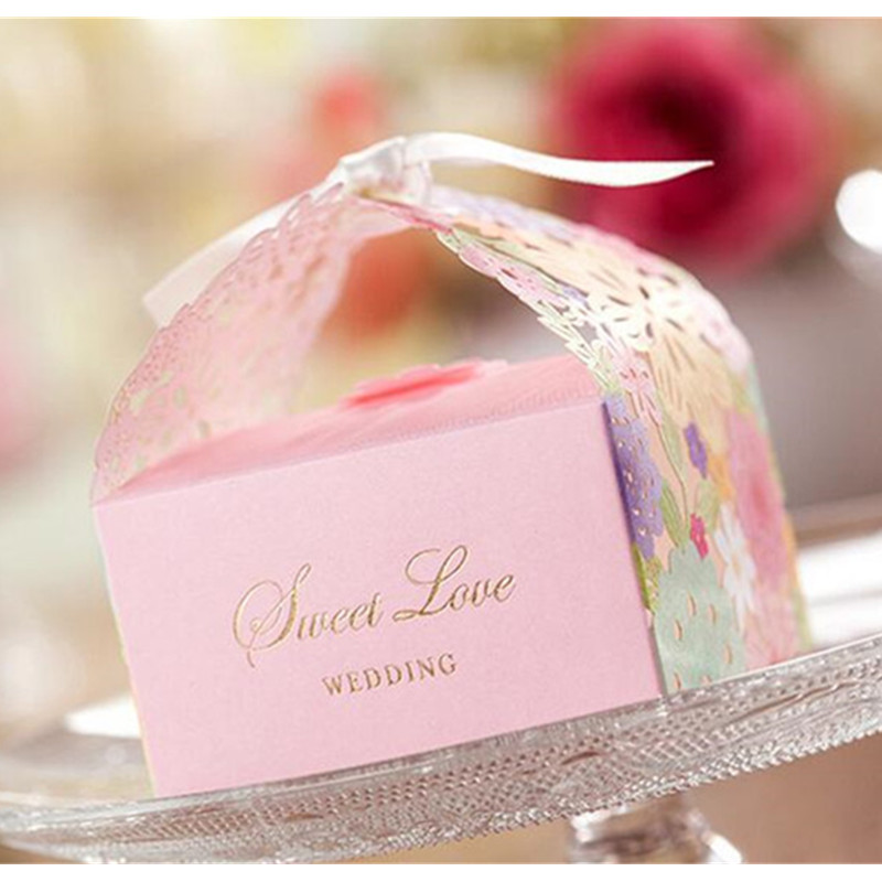 24pcslot Luxury Wedding Candy Box Pink Color Laser Cut Hollow