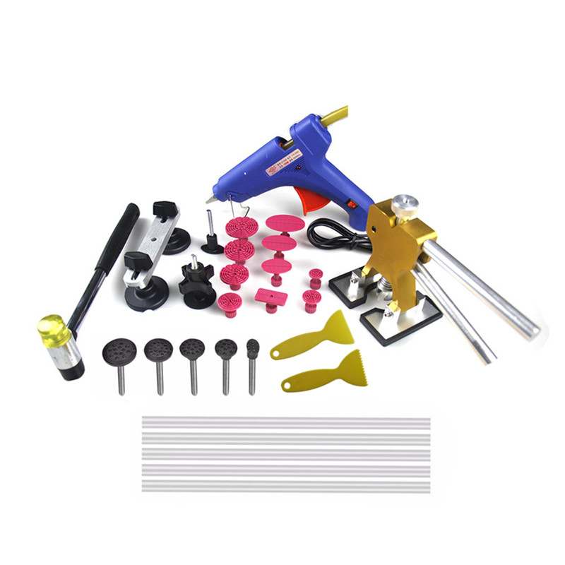 ФОТО Car Professional PDR dent Tool Set Auto Body Paintless Dent Repair Removal Tool Kits Dent Lifter + Bridge Puller +100W glue gun